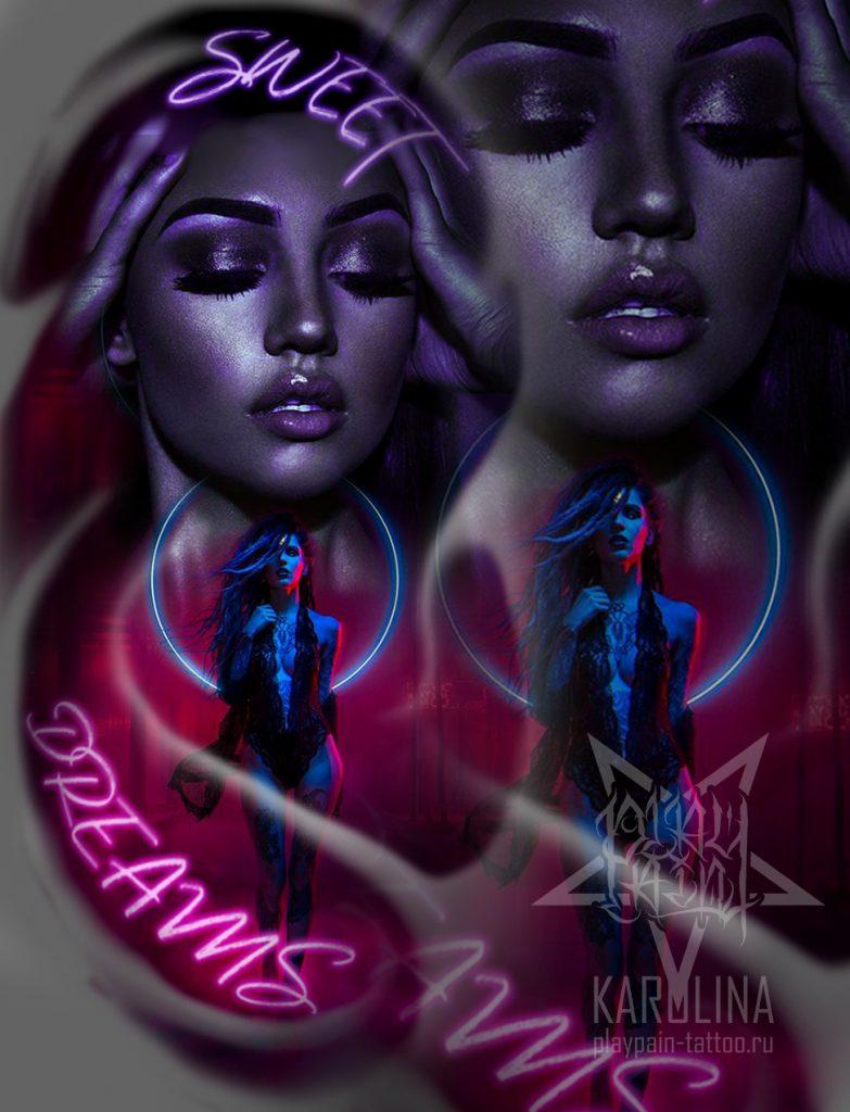 Эскиз с девушками в неоновых цветах для татуировки