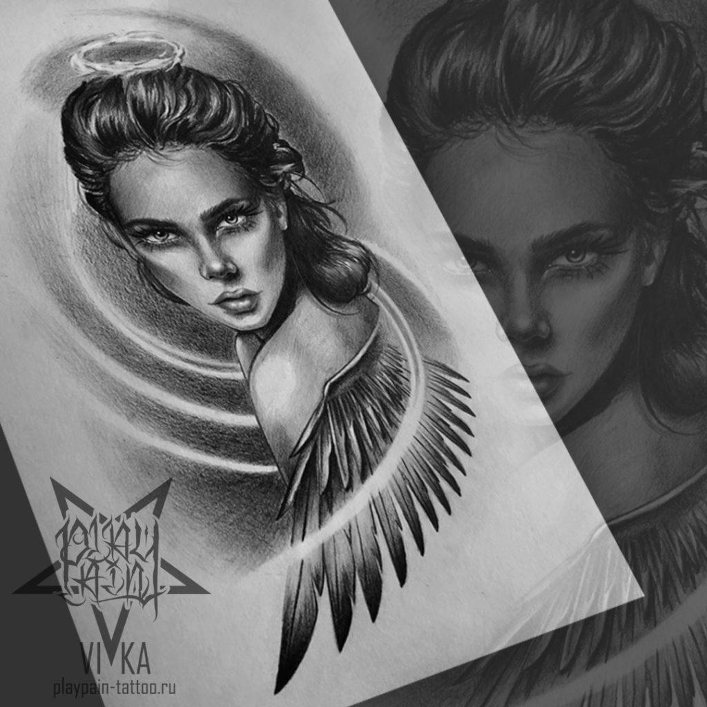 """Ангел"" эскиз для тату на руке"