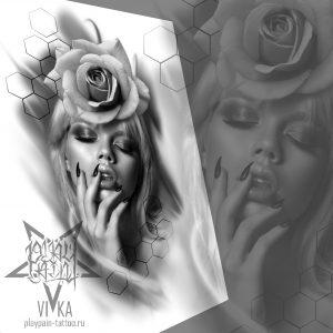 Девушка с розой, эскиз на бедро для черно-серой татуировки