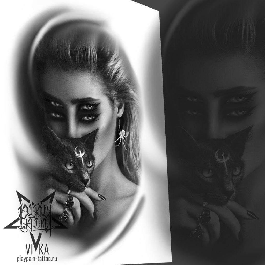 """Эскиз """"Девушка с кошкой"""" для портретной татуировки"""