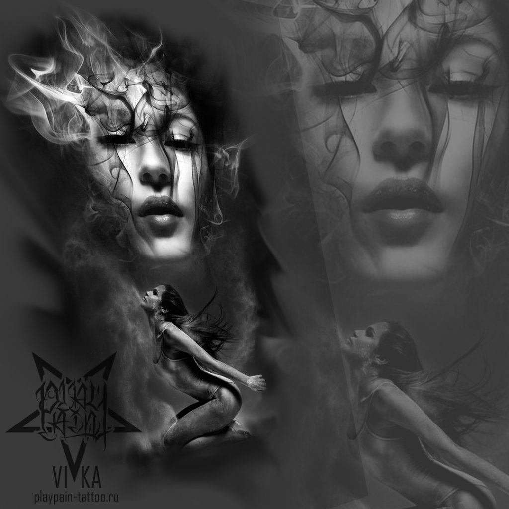 Эскиз для черно-серой татуировки в реализме