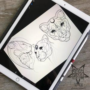 Эскизы для татуировки в графике с тиграми