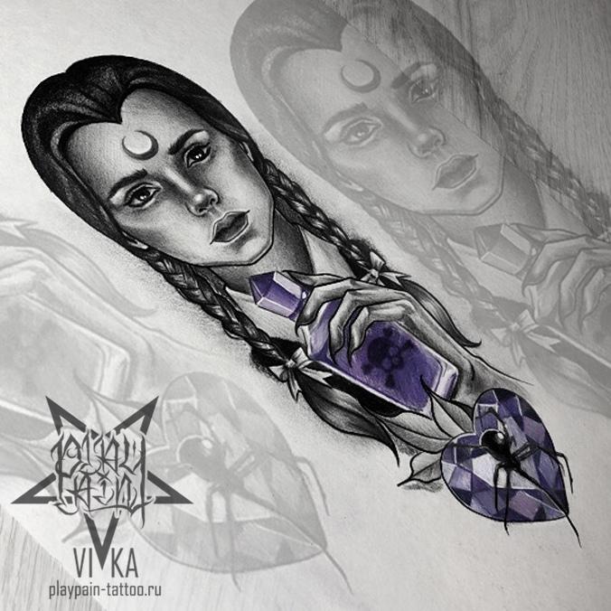 Wednesday Addams, эскиз для татуировки на предплечье